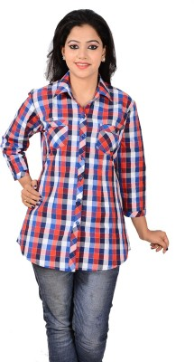 Jazzy Ben Women,s Checkered Casual Red, Blue Shirt
