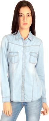 MIST ISLAND Women's Solid Casual Denim Light Blue Shirt