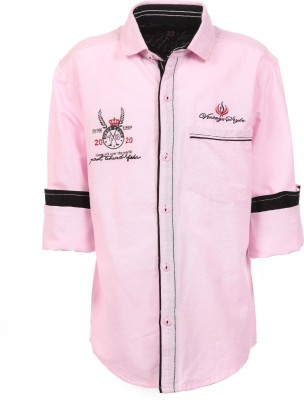 Anry Boy,s Solid Casual Pink Shirt