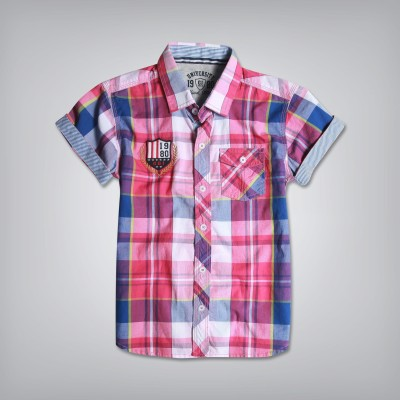 Gini & Jony Boy's Printed Casual Red Shirt