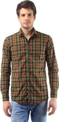 Orizzonti Men's Checkered Casual Brown Shirt