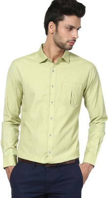 The Design Factory Men's Solid Casual Green Shirt