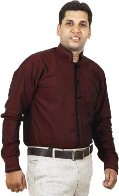 SIERA Men's Solid Casual Linen Maroon Shirt