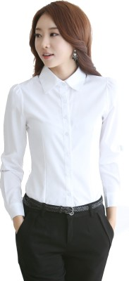 Archini Women's Solid Formal White Shirt