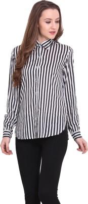 Sweet Lemon Women's Striped Casual Black, White Shirt