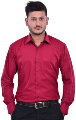 Royal Kurta Men's Solid Formal Maroon Shirt