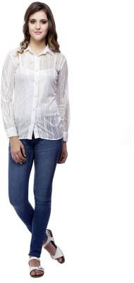 Ragdoll Women's Printed Casual White Shirt