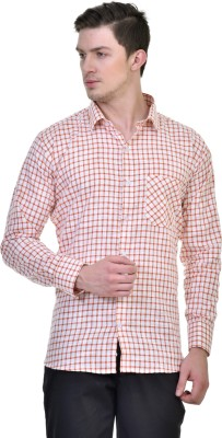 Comfortline Men's Checkered Casual Orange Shirt