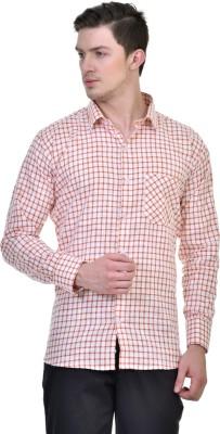 Comfortline Men,s Checkered Casual Orange Shirt