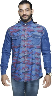 leports Men's Printed Casual Denim Blue Shirt