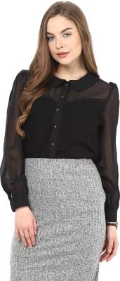 La Zoire Women's Solid Formal Black Shirt