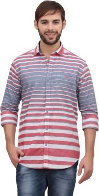 Volume Zero Men's Striped Casual Pink Shirt