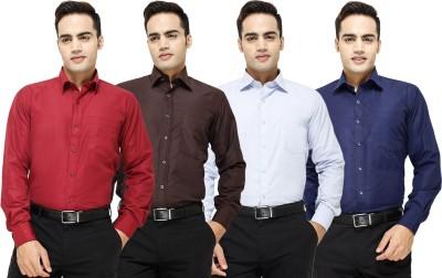 Yuva Men's Solid Formal Maroon, Brown, Light Blue, Dark Blue Shirt