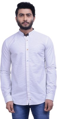 Hoffmen Men's Striped Casual White Shirt