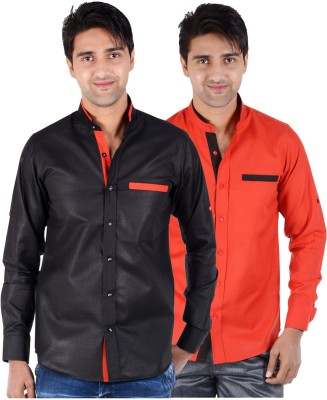 S9 Men's Solid Formal, Festive, Party Black, Red Shirt