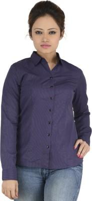 Elle Et Lui Women's Striped Formal Purple Shirt