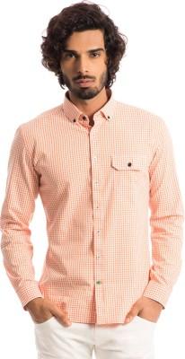 Specimen Men's Checkered Casual Orange Shirt