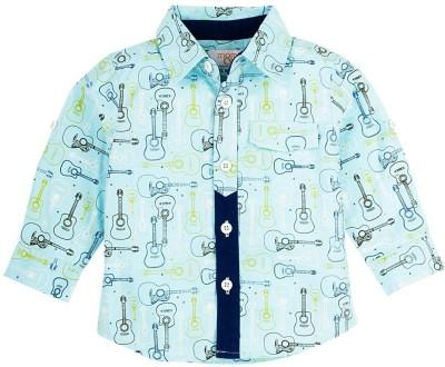 Mom & Me Boy's Printed Casual Light Blue Shirt