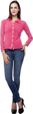 Purple Feather Women's Solid Casual Pink Shirt