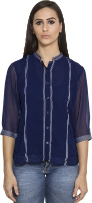 Today Fashion Women's Striped Casual Blue Shirt