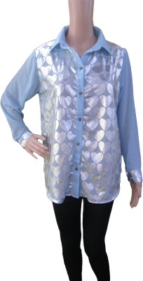 Aaradhya Boutique Women's Printed Formal Light Blue Shirt