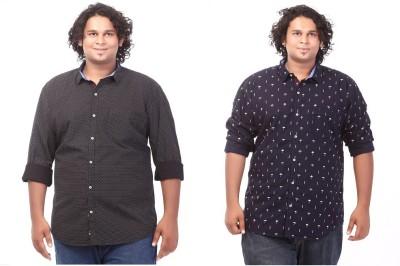 CIROCO Men's Printed Casual Black, Blue Shirt