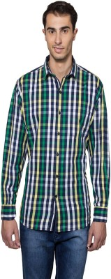 Lee Marc Men's Checkered Casual Green, Black Shirt