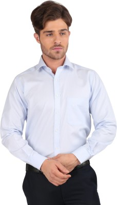 J Hampstead Men's Solid Formal Blue Shirt