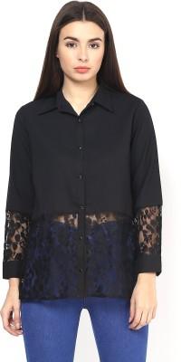 Martini Women's Solid Party Black Shirt