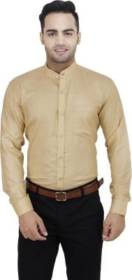 LEAF Men's Solid Formal Beige Shirt