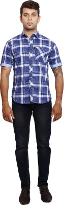 Verve Men's Checkered Casual Blue, White Shirt