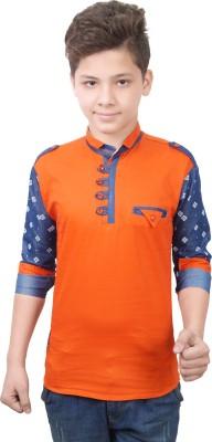 Ice Blue Boy's Solid Casual Orange Shirt