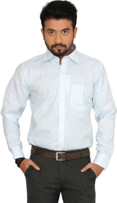 Indian Weller Men's Striped Formal Green Shirt