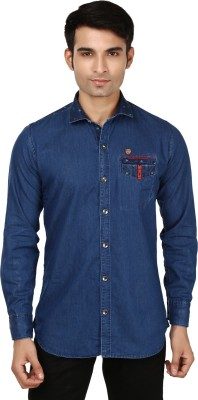 Flakes Fashion Men's Solid Casual Denim Dark Blue Shirt
