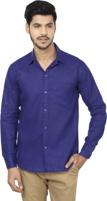 Trewfin Men's Solid Casual Blue Shirt