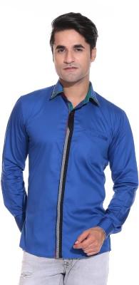 Rebel Men's Solid Casual Blue Shirt