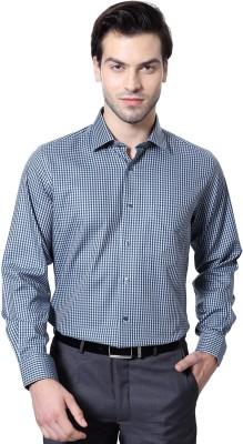 Van Heusen Men's Checkered Formal Dark Blue Shirt