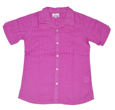 Young Birds Girl's Solid Casual Pink Shirt