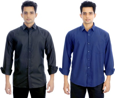 Atmosphere Men's Solid Formal Black, Blue Shirt