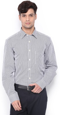 Nord51 Men's Checkered Formal White, Black Shirt