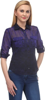 Rockland Life Women's Printed Casual Blue, Black Shirt