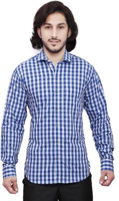 Dave Men's Checkered Casual Blue, Dark Blue Shirt