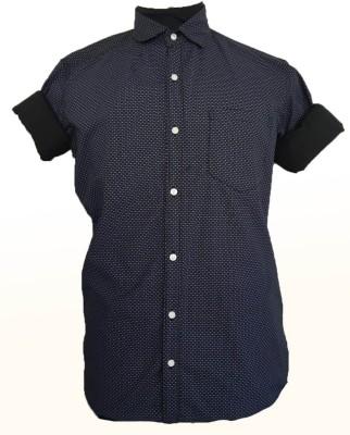 maclavaro Men's Printed Casual Black Shirt
