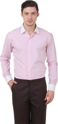 Roar and Growl Men's Solid Casual Pink Shirt
