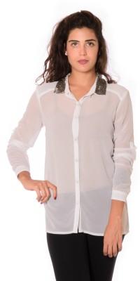 Urban Religion Women's Solid Party White Shirt