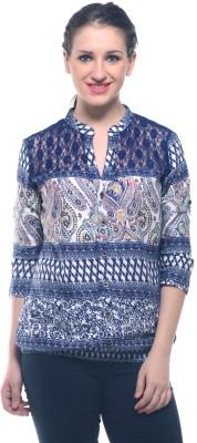 Lynda Women's Printed Casual Grey Shirt