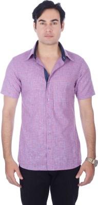 Darzii Men's Checkered Casual Linen Red, Blue Shirt