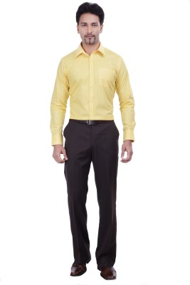 Validus Men's Solid Formal Yellow Shirt