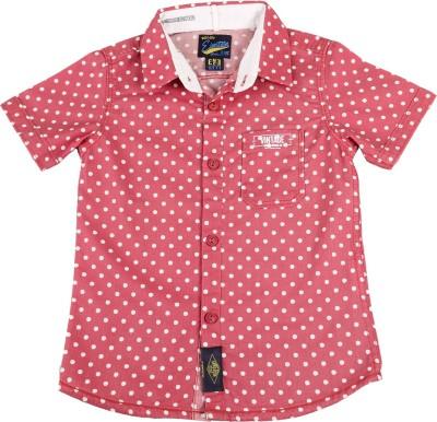 Einstein Boy's Polka Print Casual Pink Shirt