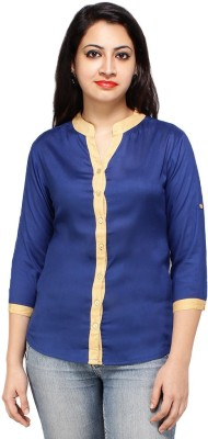 Styles Clothing Women's Solid Casual Blue Shirt